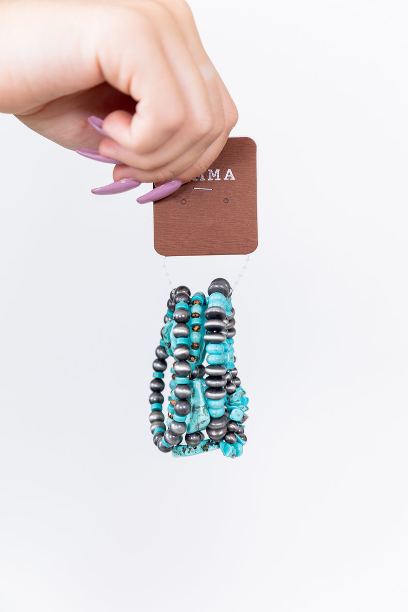 Turquoise + Beaded Stackable Bracelet Set