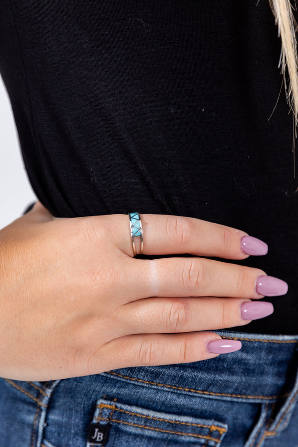 Stax Sterling Silver Turquoise Ring