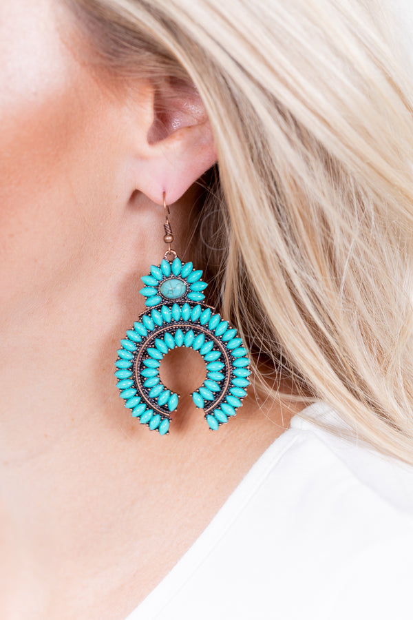 Turquoise + Copper Naja Earrings