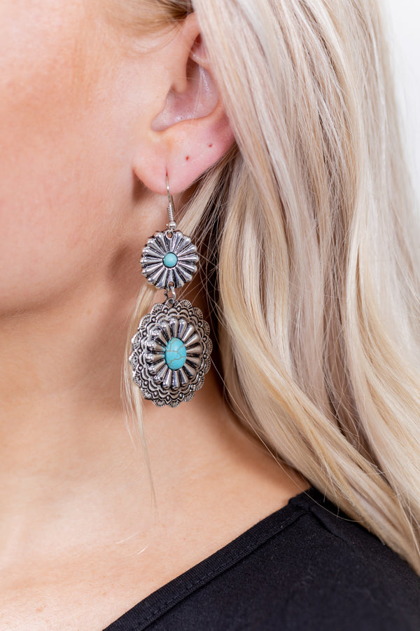 Stacked Concho Turquoise Earrings