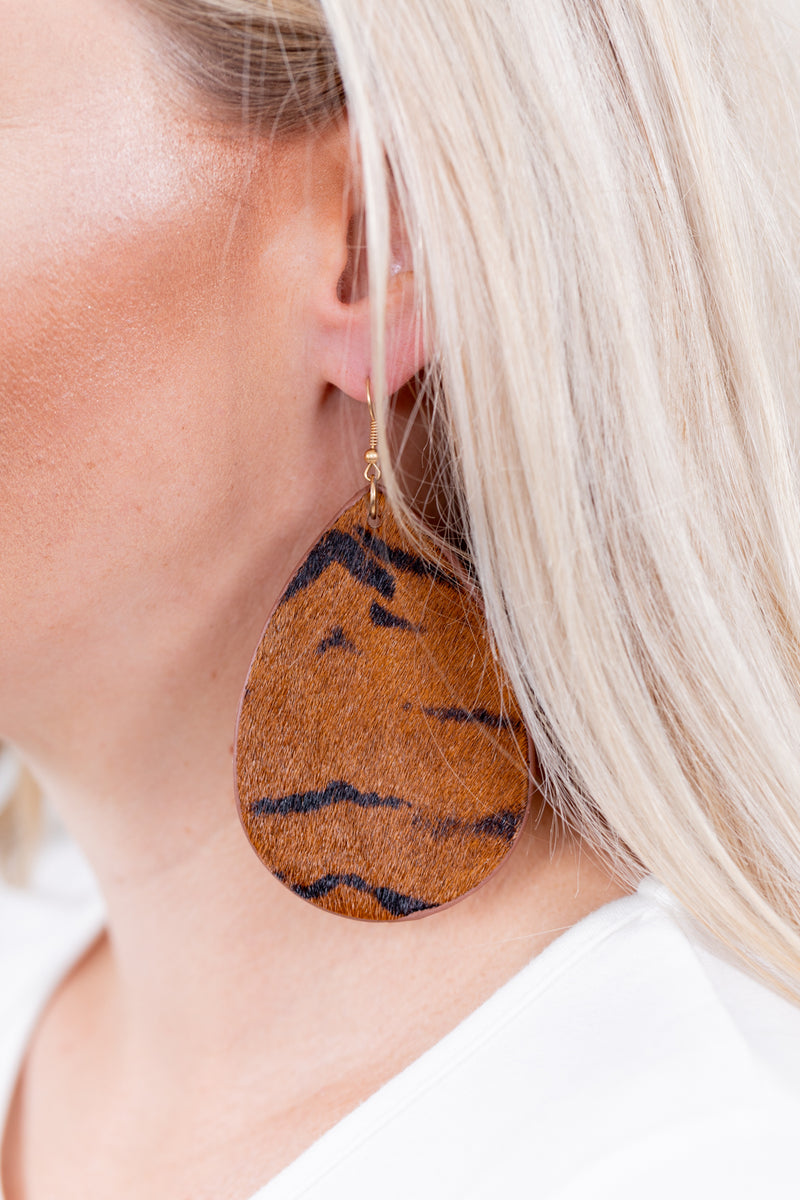 Tiger Queen Leather Dangle Earrings