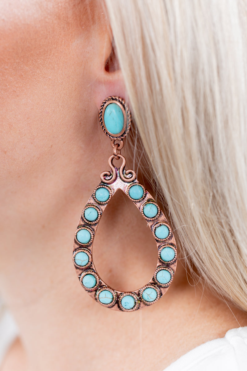 Turquoise + Brass Teardrop Earrings