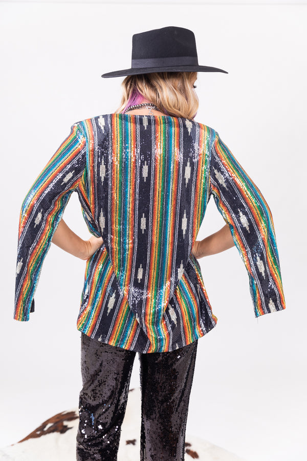 Aztec Sequin Cape Jacket