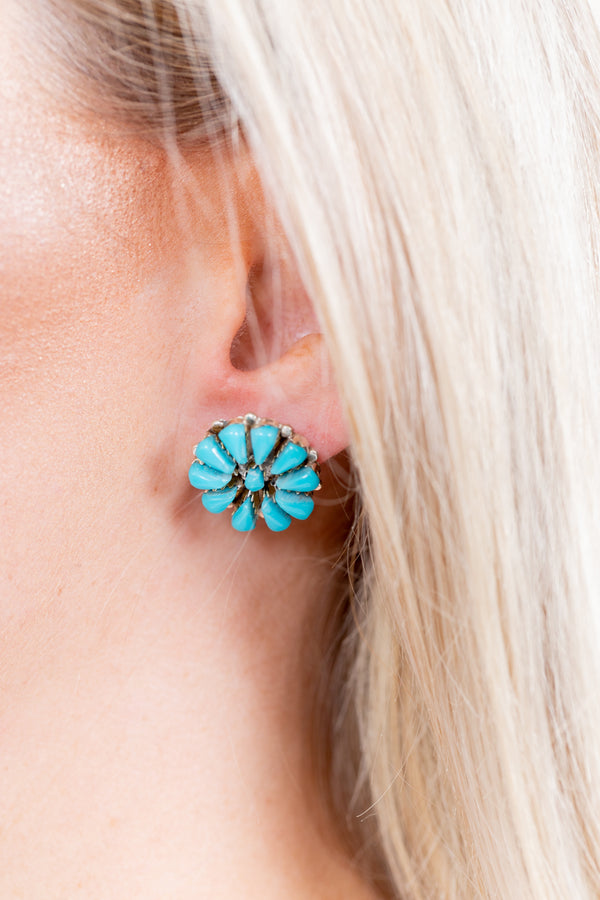 Flashback Sterling Silver Turquoise Post Earrings