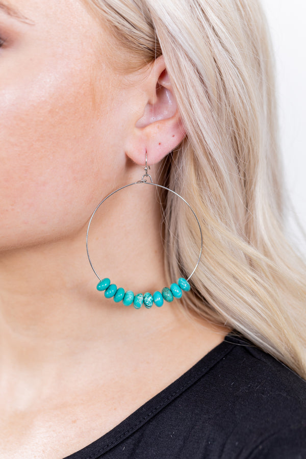 Turquoise Cluster Hoop Earrings