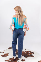 Turquoise Serape Off The Shoulder Top