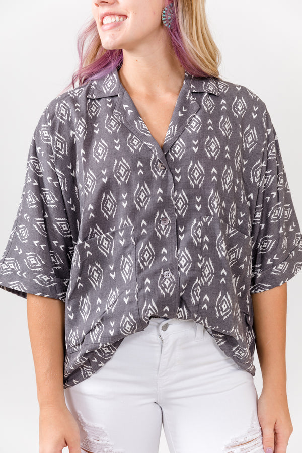 90's Baby Charcoal Aztec Button Up Top