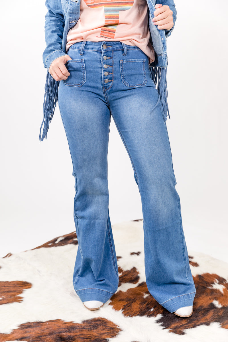 Good Hearted Women Button Up Denim Trouser