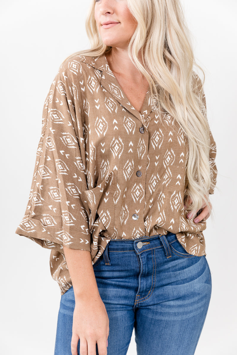 90's Baby Taupe Aztec Button Up Top