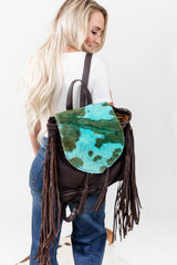 Turquoise Babe Hide Leather Backpack