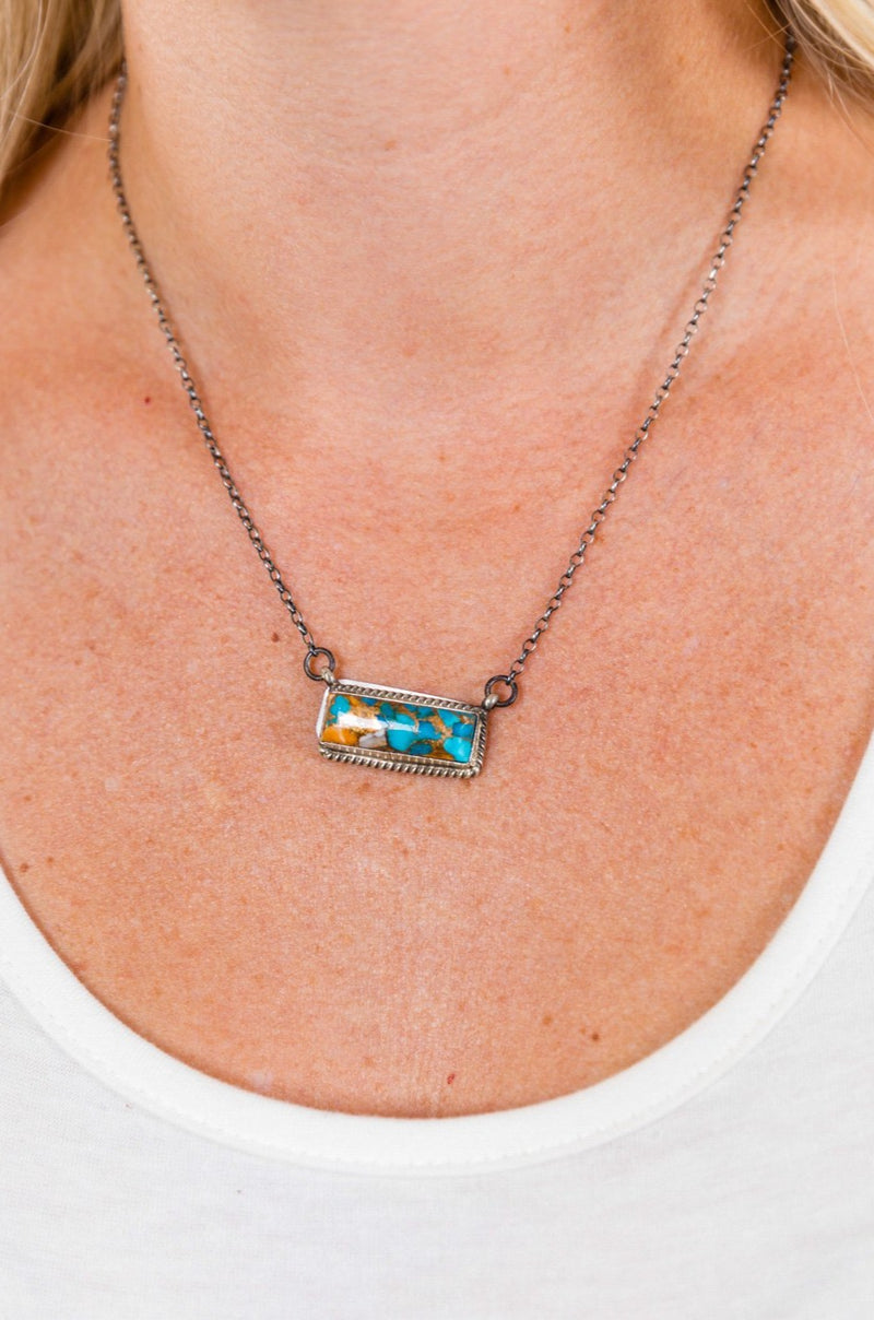 Sterling Spiny Turquoise Bar Necklace