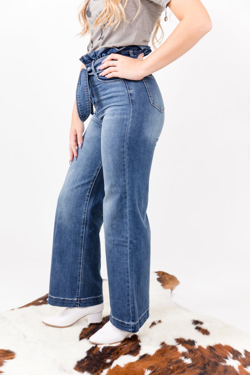 Dark Wide Leg Denim Belted Trouser Jeans