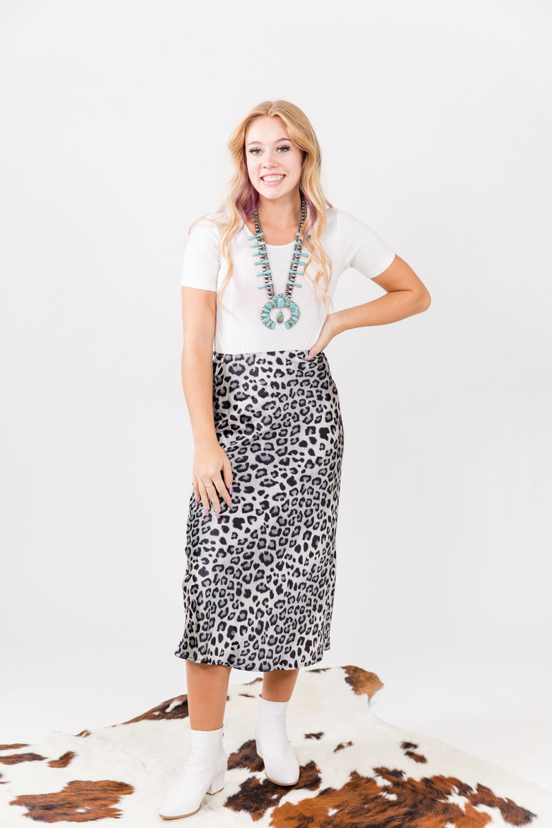 Born To Be Charcoal Taupe Midi Skirt