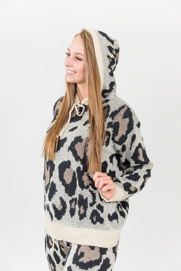 Leopard Love Taupe Sweater Hoodie Top