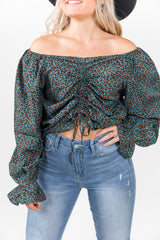Lila Cinch Turquoise Leopard Top
