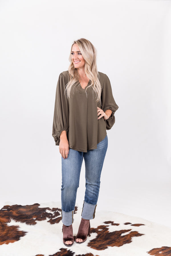 Olive Bubble Sleeve Top