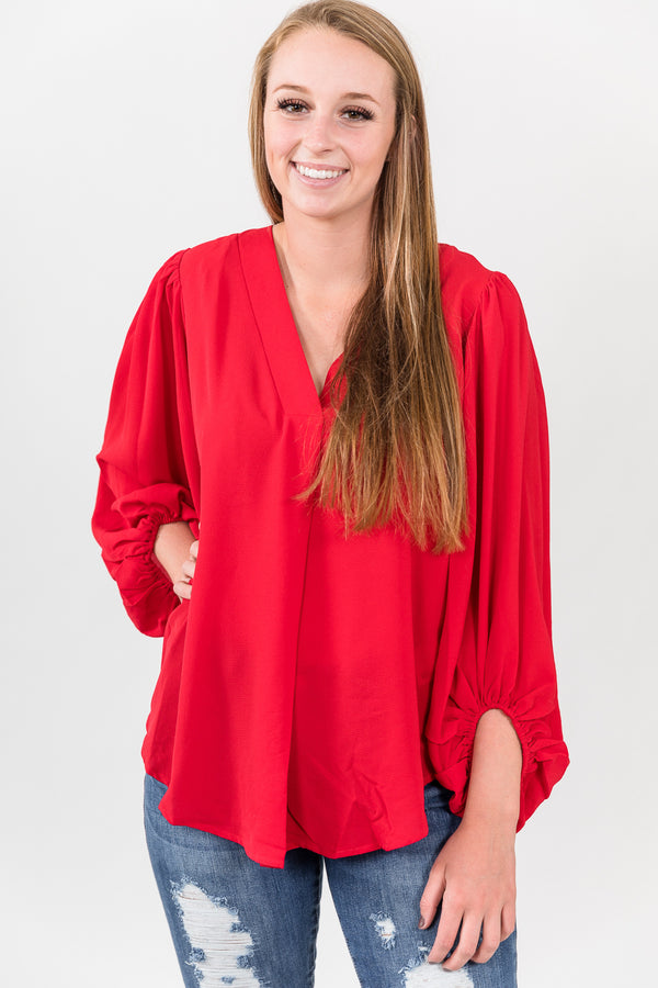 Ruby Red Bubble Sleeve Top
