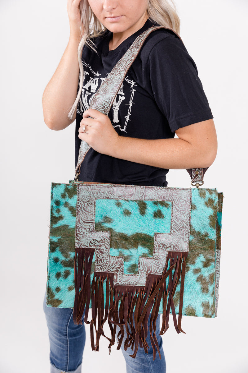 Turquoise Fringed Out Diaper Bag