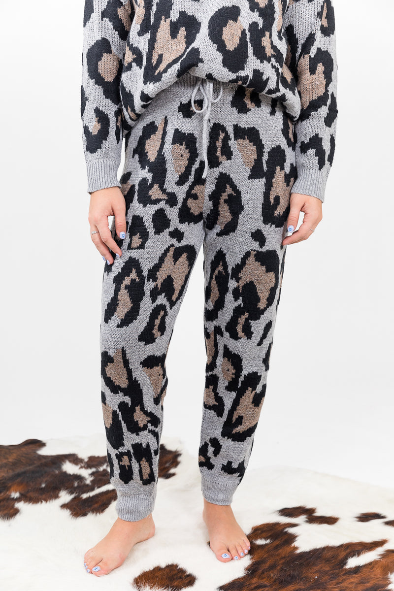 Leopard Love Grey Joggers