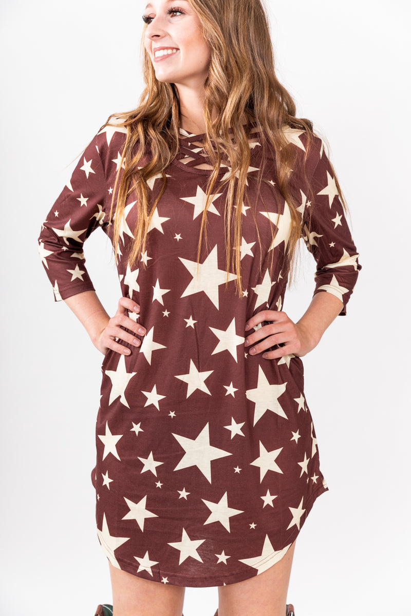 Burgundy Star Girl Dress