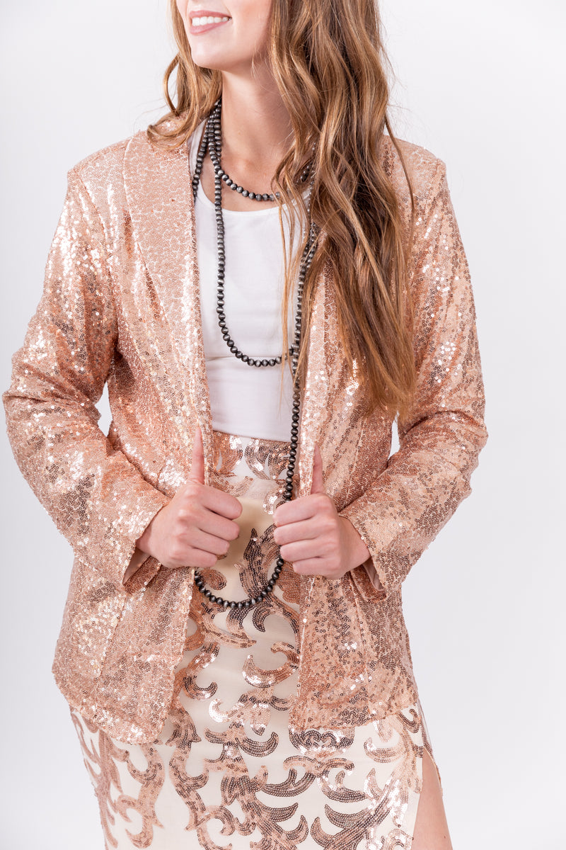 Rose Gold Disco Cowgirl Sequin Blazer