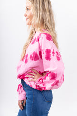 Pretty In Pink Tie Dye Sweatshirt Top