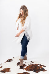 Cream Fringe Sweater Poncho Top