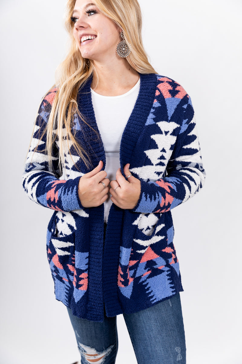 It's About To Get Western Blue Fall Cardigan