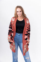 It's About To Get Western Rust Fall Cardigan