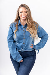 Denim Darlin' Snap Button Top