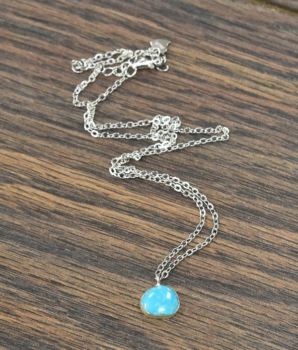 Kingman Single Stone Sterling Silver Necklace