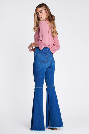 Dark & Distressed Denim High Waist Bell Bottoms