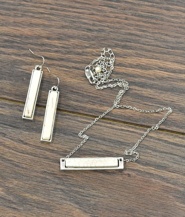 Natural White Stone Bar Necklace Set