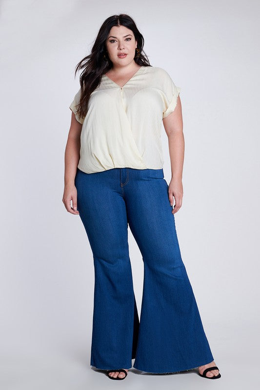 Plus Size Dark Denim Wash High Waisted Bells