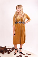 Golden Goddess Wrap Velvet Midi Dress