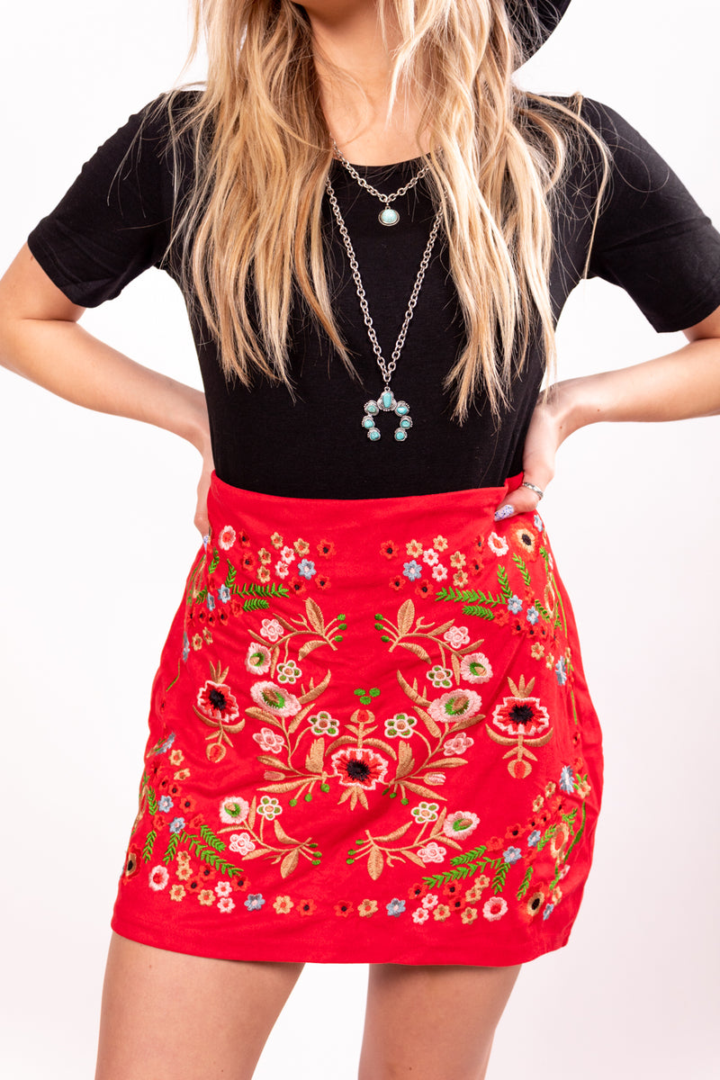 Loretta Red Embroidered Mini Skirt