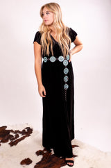 Midnight Goddess Wrap Velvet Maxi Dress