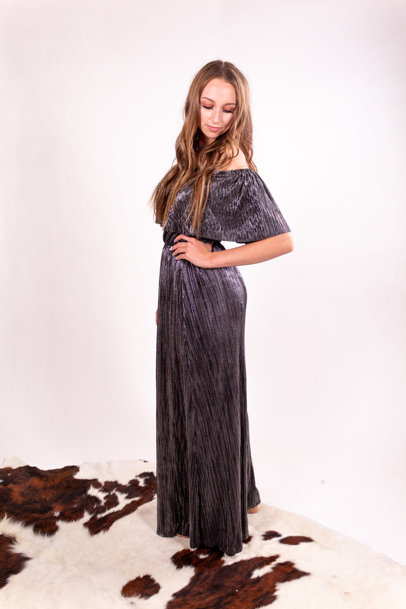 Talkin' Tennessee Gunmetal Metallic Off The Shoulder Dress