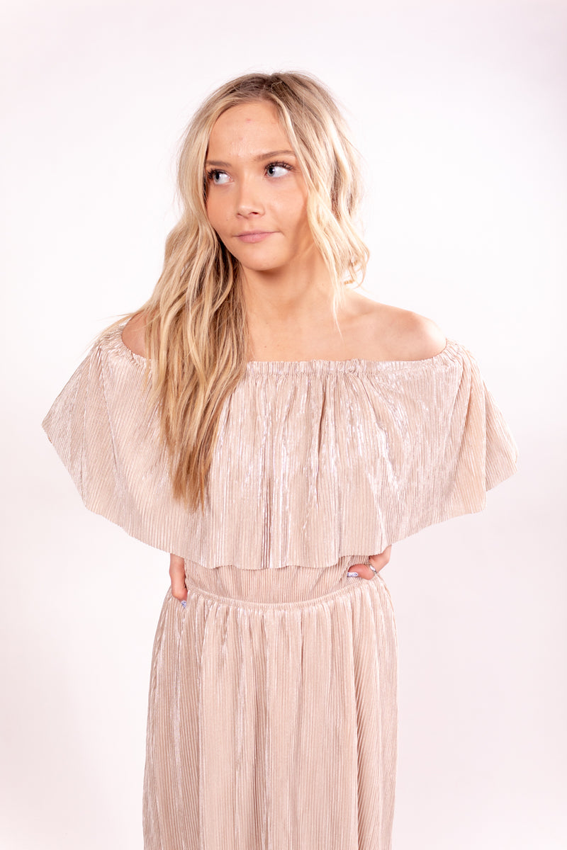 Talkin' Tennessee Champaign Metallic Off The Shoulder Dress