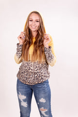 Lemon Drop Ombre Leopard Pull Over Sweatshirt Top
