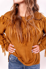 Fringed Out Golden Mustard Sweater Top