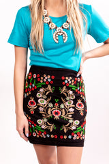 Loretta Midnight Embroidered Mini Skirt