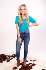 The Taylor Judy Blue Denim Distressed Skinny Jeans