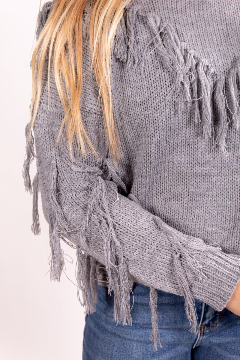 Fringed Out Grey Sweater Top