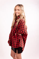 Red Plaid It Right Long Sleeve Top