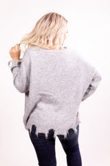 Distressed Grey Favorite Sweater Top