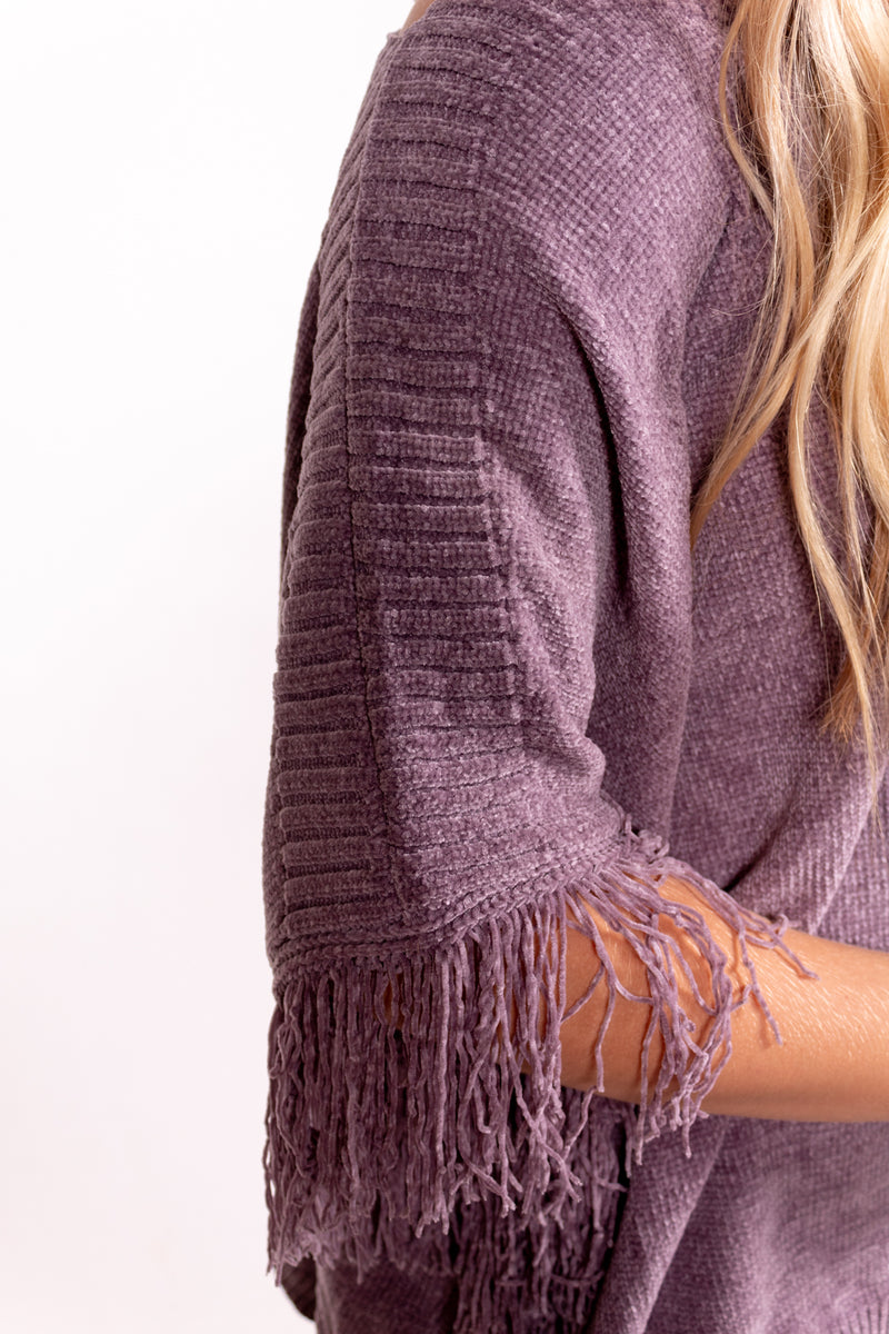 Mauve Fringe Sweater Poncho Top