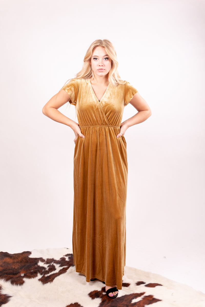 Gold Goddess Wrap Velvet Maxi Dress