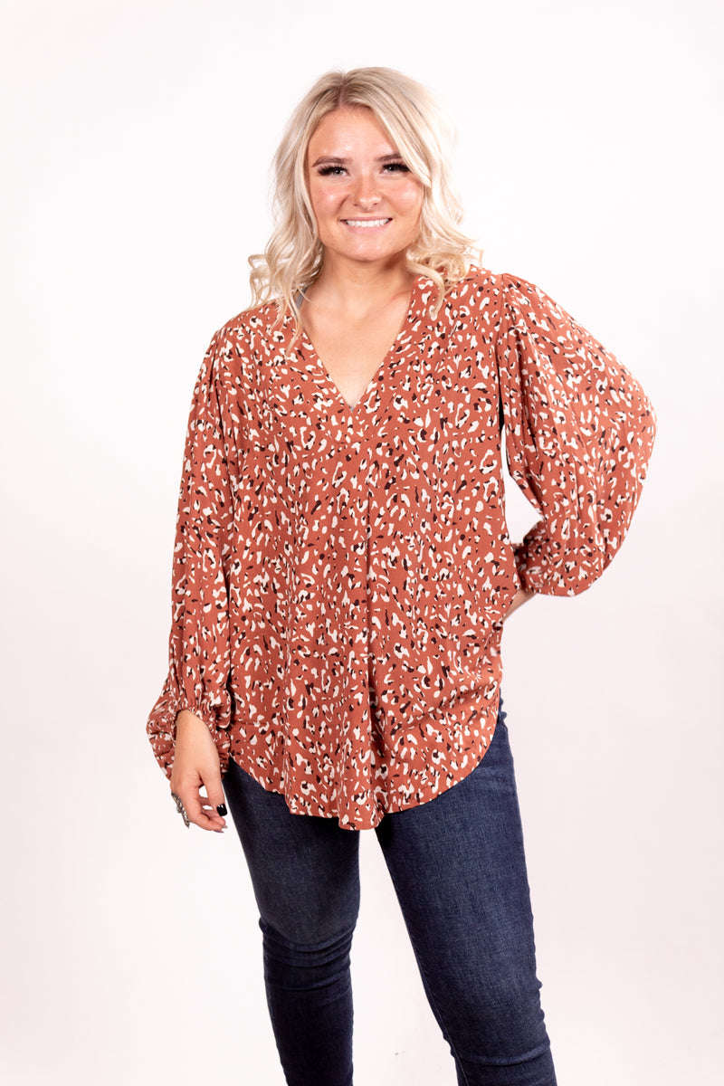 Mauve Spotted Bubble Sleeve Long Sleeve Top