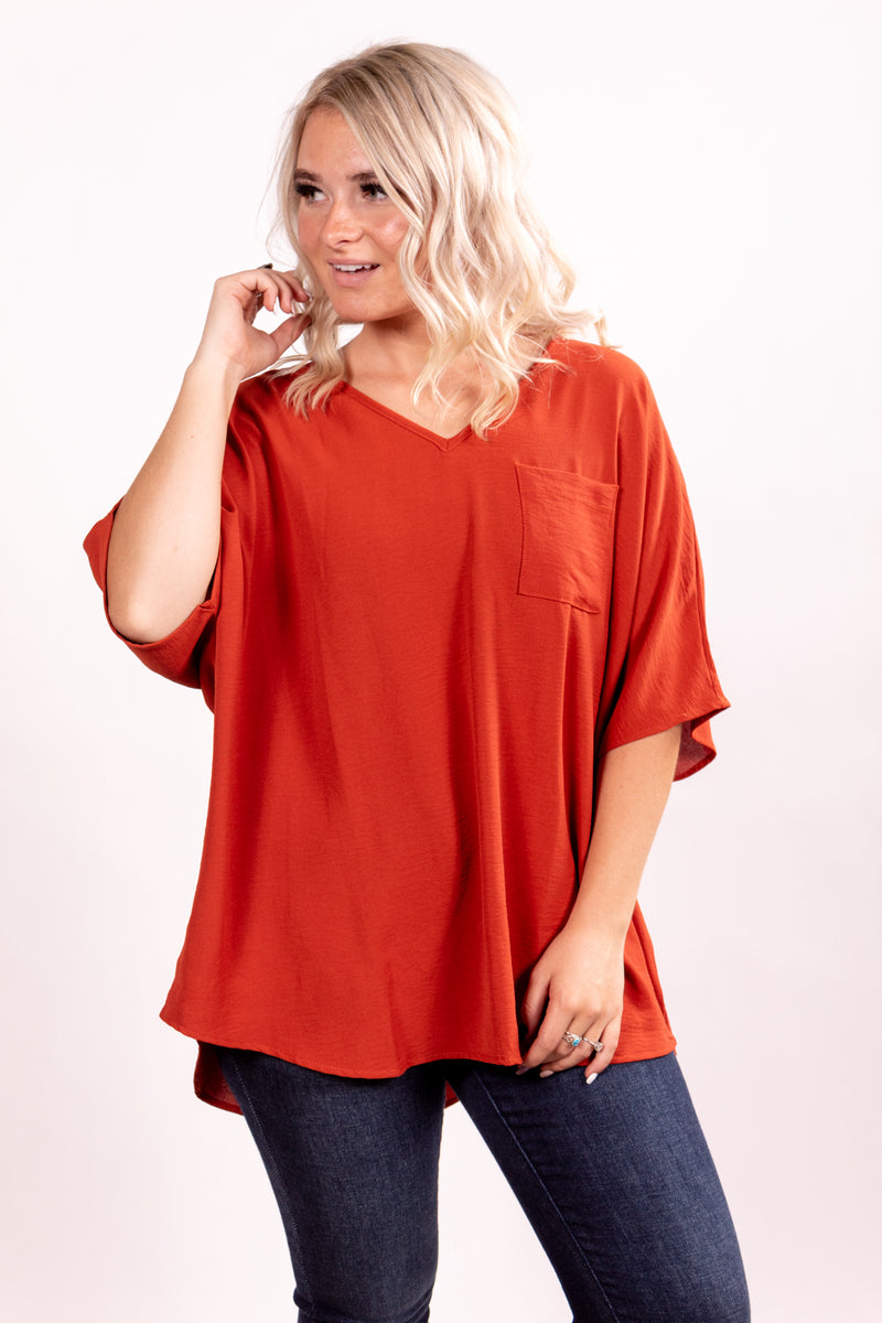 Rust Boyfriend Pocket Top